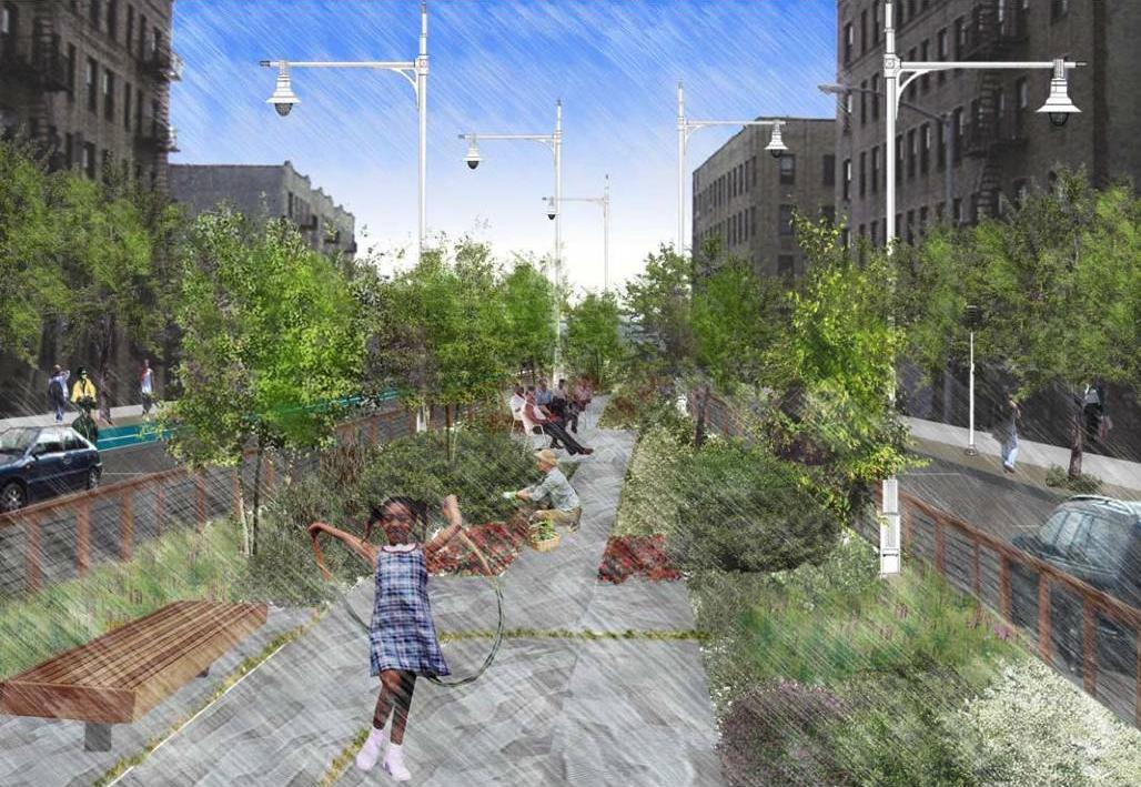 The Greenway on Lafayette Avenue, rendering by Mathews Nielsen Architecture Group