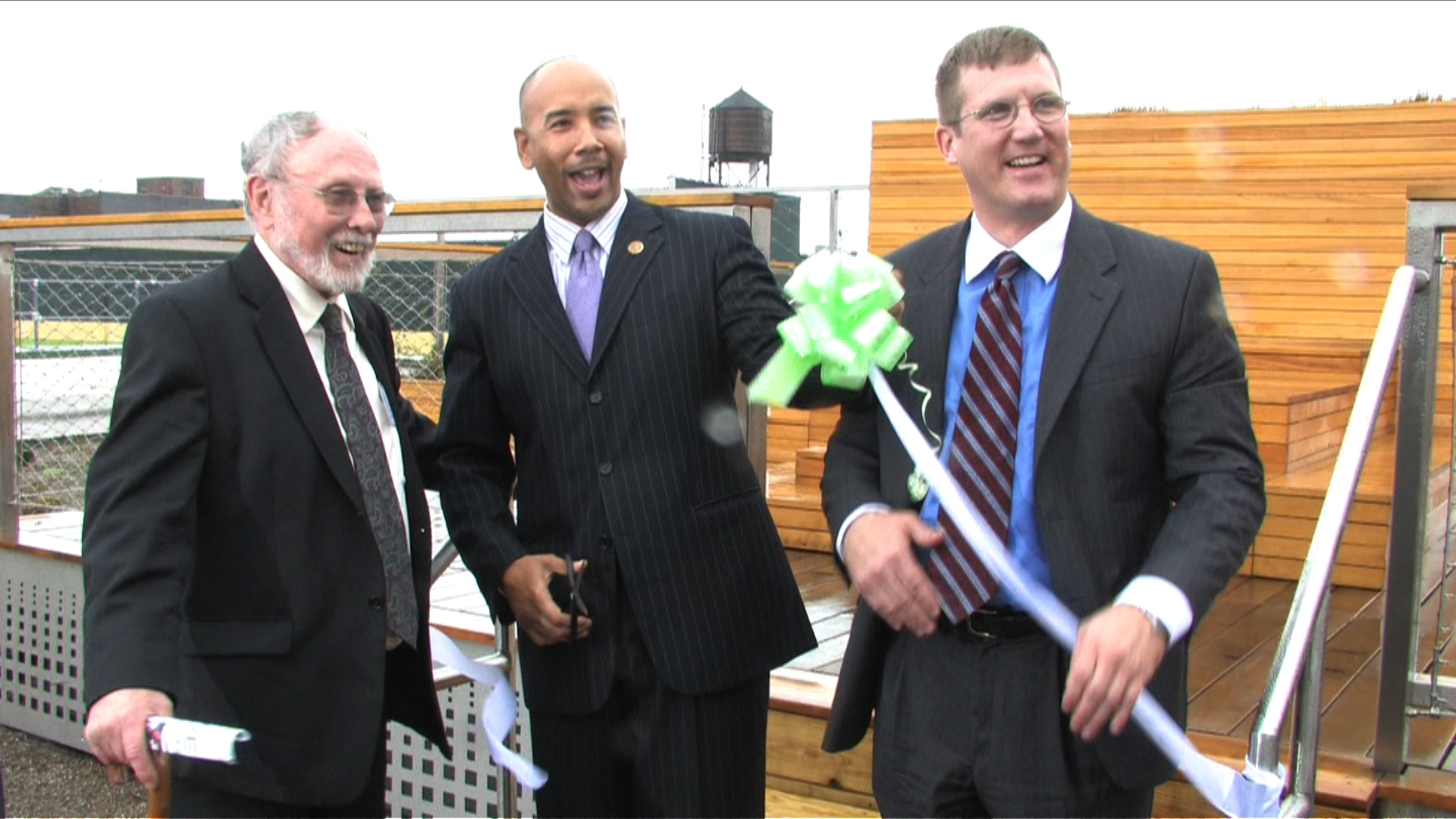 (L to R) David Hepinstall (Exec Dir of AEA), B.P. Rubén Díaz, and Daniel Buyer, Assistant Commissioner at NYS HCR.