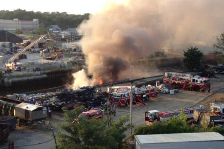 Mt. Vernon Battle Barge Fire In Hutchinson River