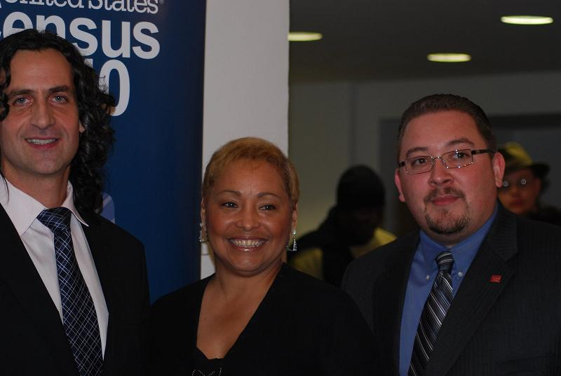 Bronx resident and 2010 Census Partnership Specialist Linda Berk flanked by Michael Knobbe and Rafael Dominguez.