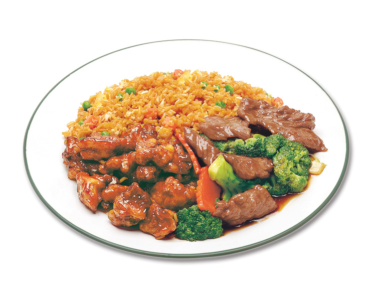 Combo meal with general Tao chicken ,beef broccoli and fried rice.