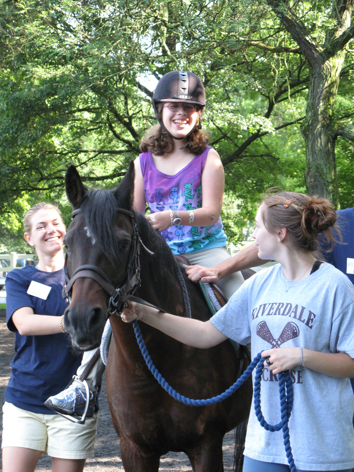 Therapeutic horse riding.