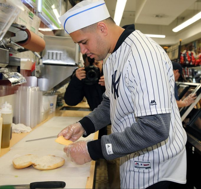 Yankees' Gary Sanchez Makes Sandwiches For Fans In Bronx