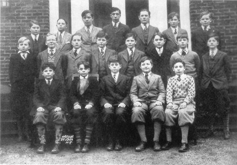 JFK, front row center, at Riverdale Country School circa 1927.