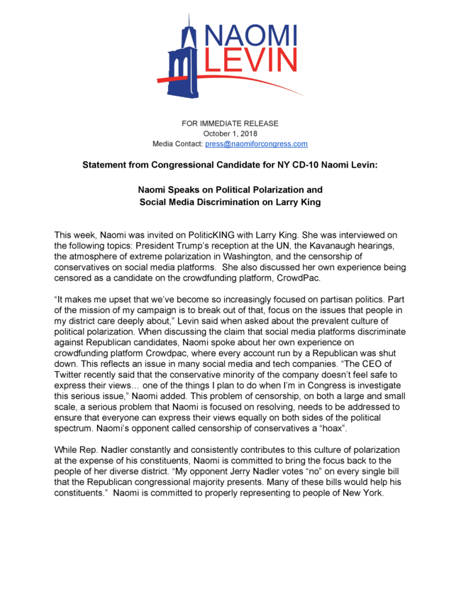 Statement From Congressional Candidate For NY CD-10 Naomi Levin