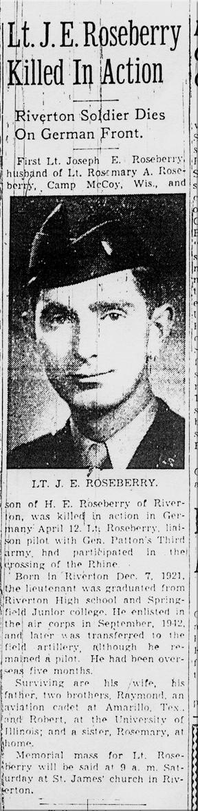 Lt. Jospeh E. Roseberry's obituary.