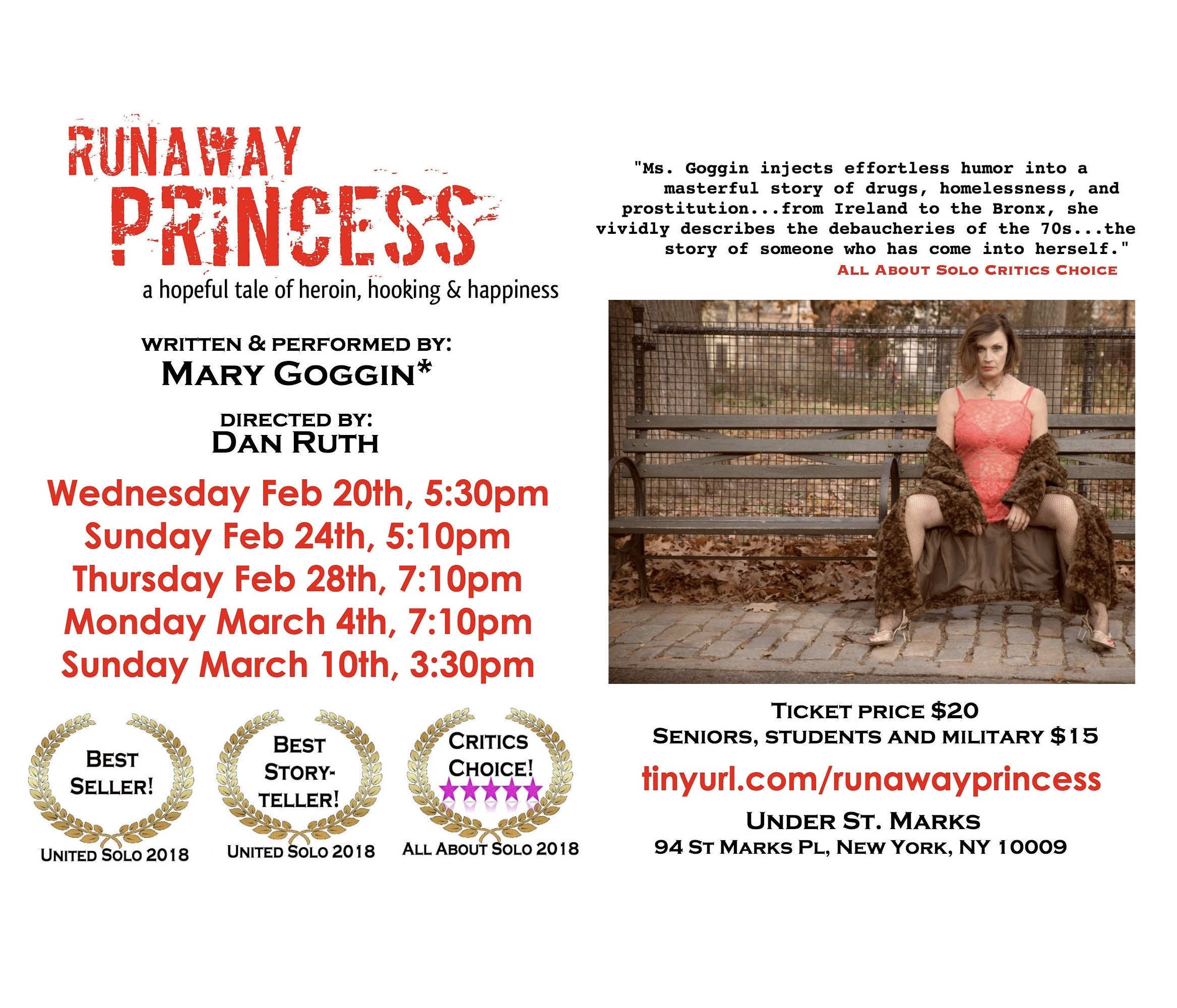 "Cancelled: Presenting Mary Goggin's Multiple Award Winning ""Runaway Princess, A Hopeful Tale Of Heroin, Hooking & Happiness"""