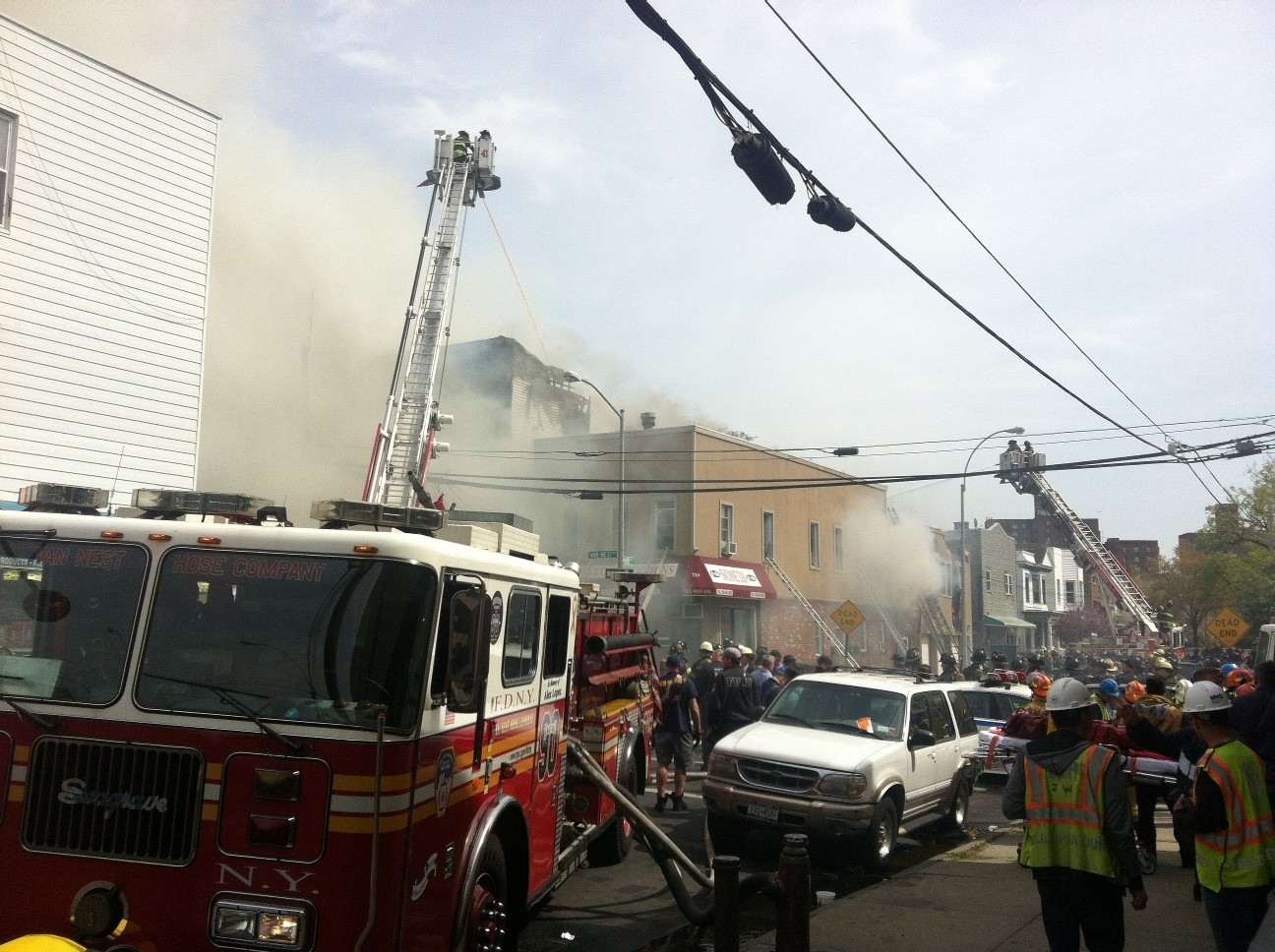 At the scene of the fire.