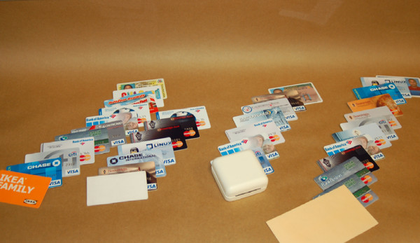 Some of the recovered stolen credit and debit cards.