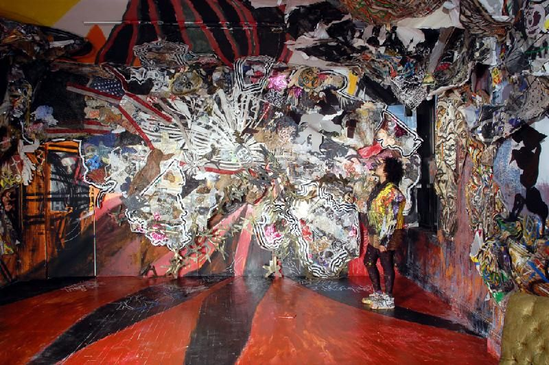 Abigail DeVille, Original Ganstas, 2008, mixed-media collage, 12 x 20 feet.