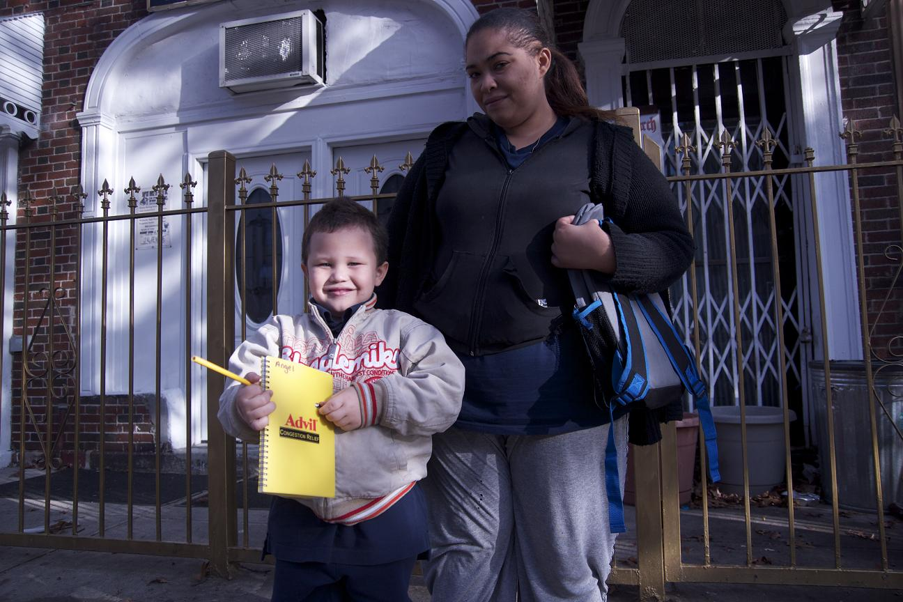 Angel, 5, with his mother Mayra Ocasio following the event.