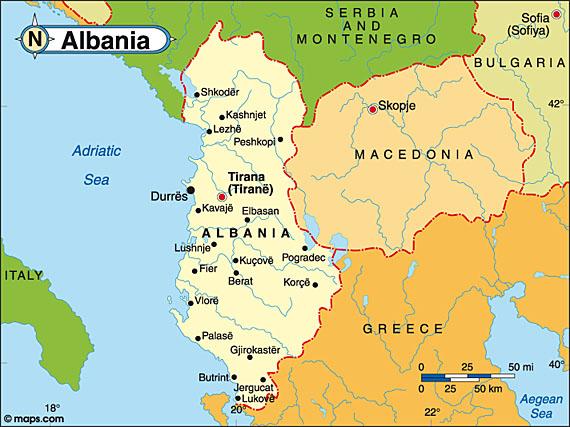 Albania on the European map.