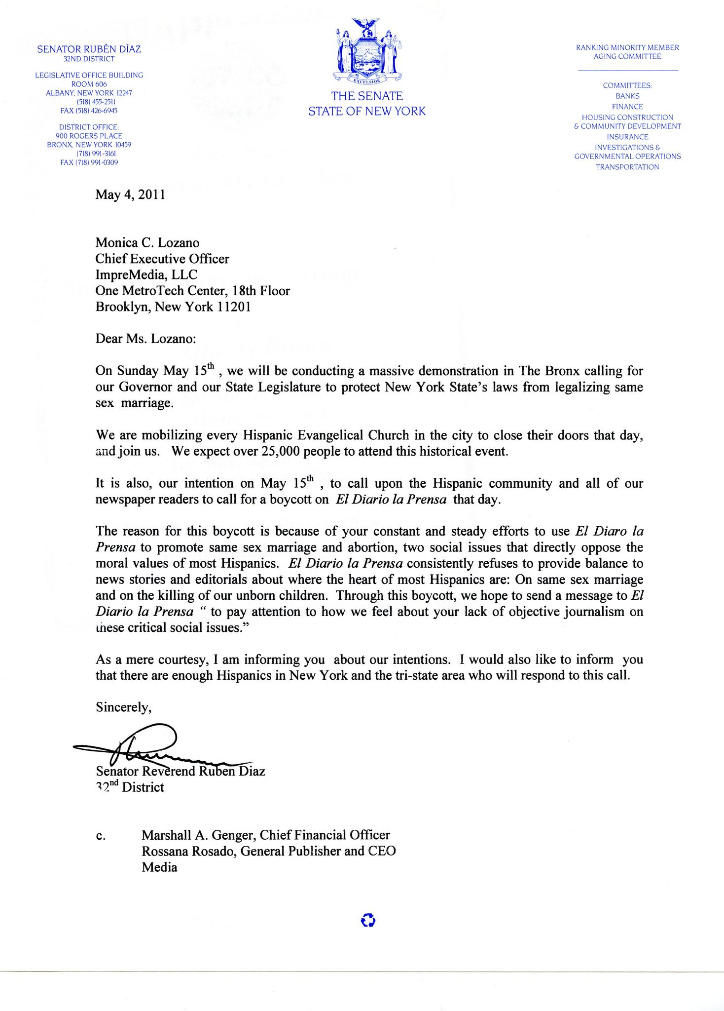 The boycott letter.