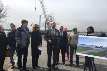 Mayor De Blasio Announces Progress Constructing NYC Ferry Landing For Soundview