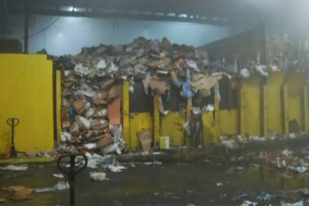 Fire Crews Battle 5-Alarm Fire At Recycling Plant