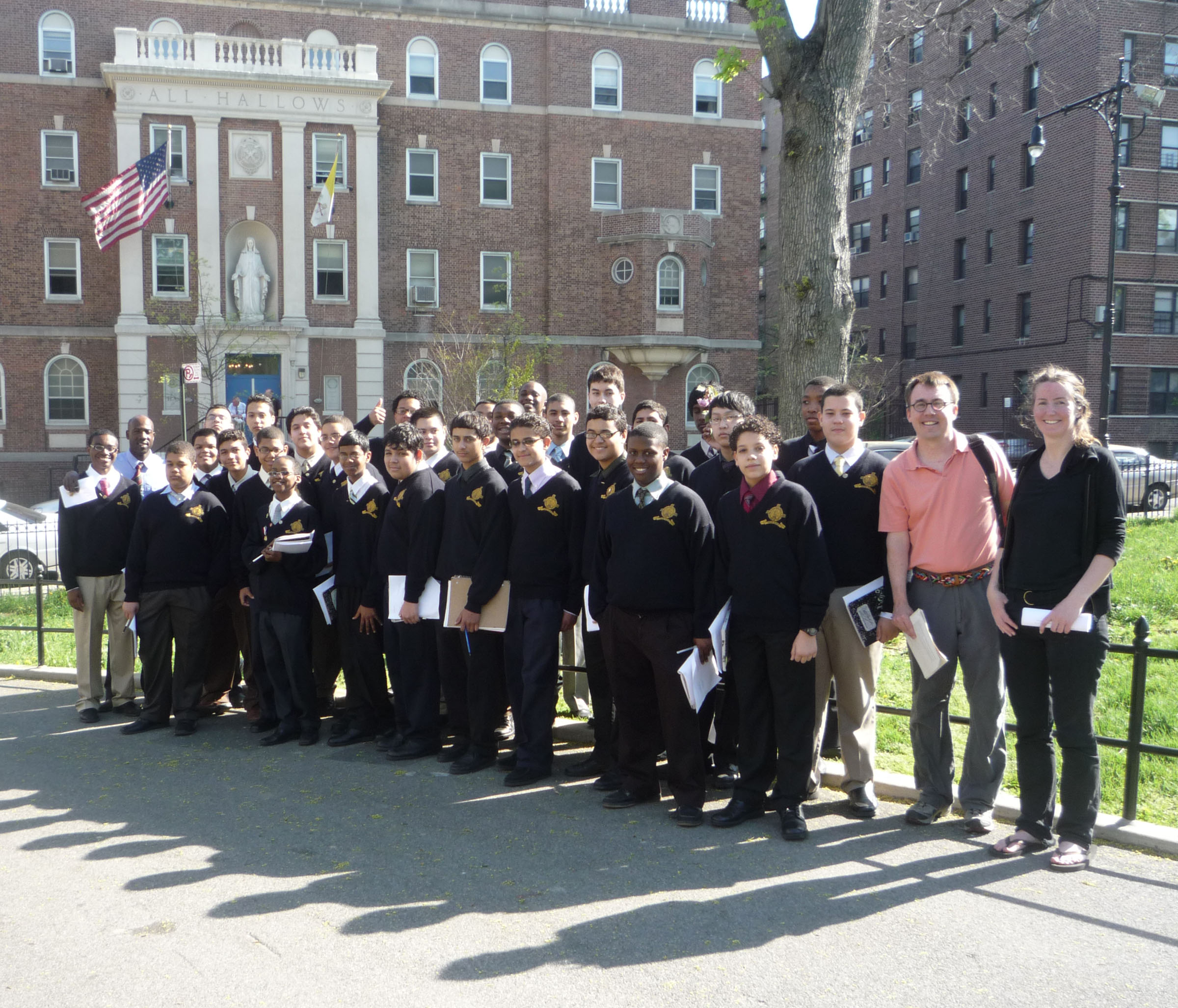 One of the tree museum Haiku Hike led by poet E.J.McAdams, with Mr. Brunelle Griffith's freshman honors class from All Hallows High School.
