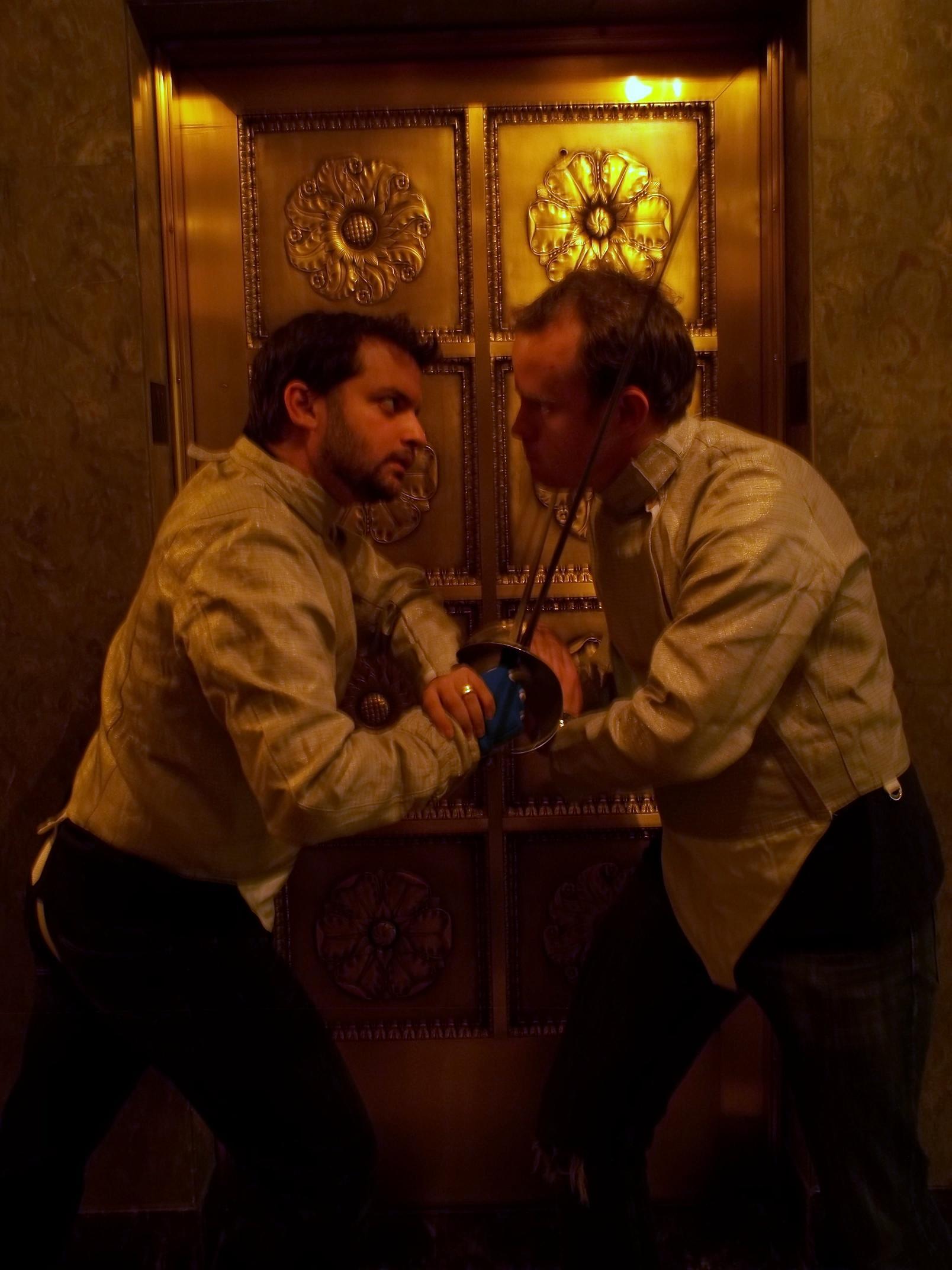 Left: Tal Aviezer as Hamlet, Right:: David Ryan as Laertes