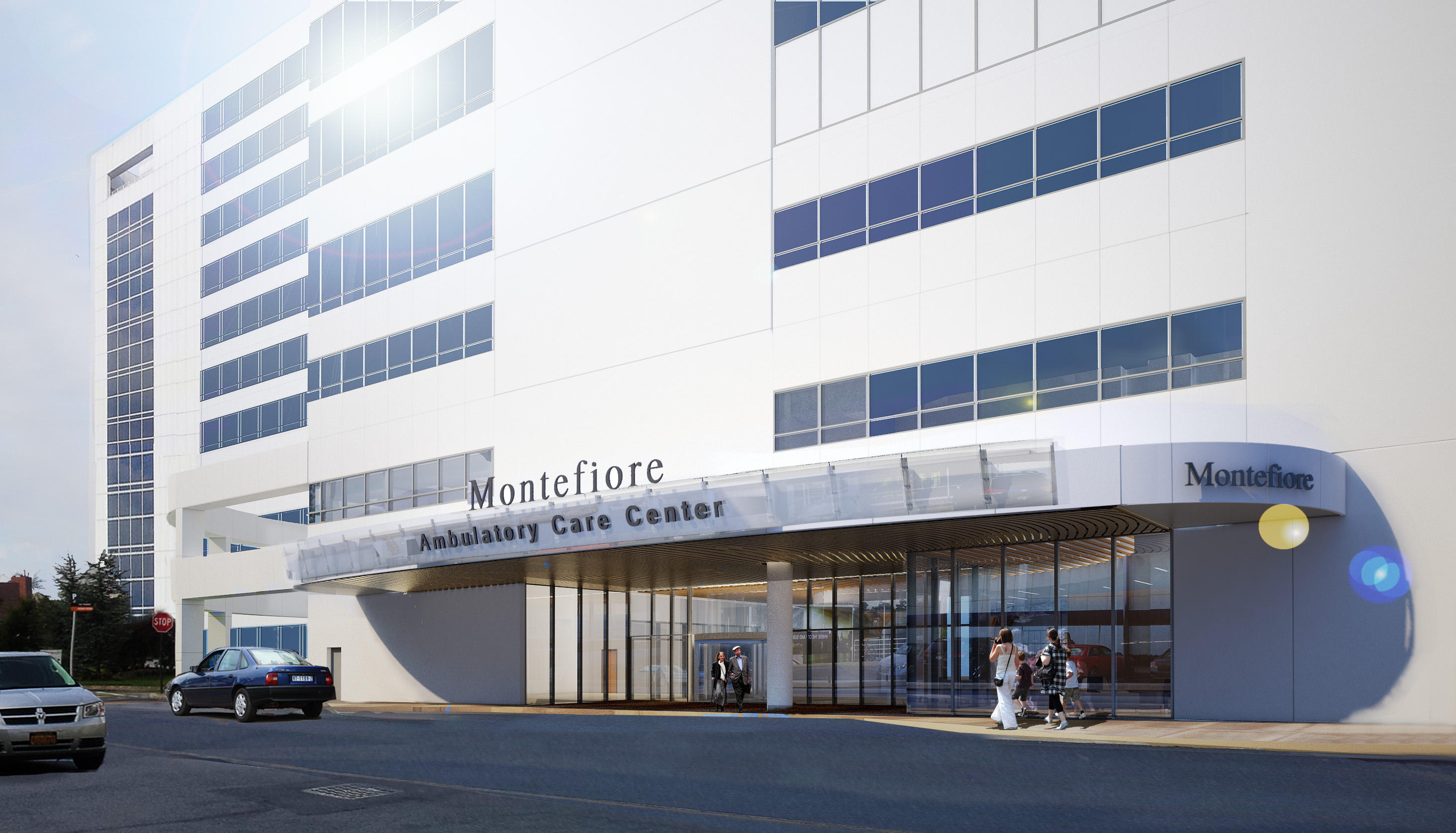 Hutch Center facade image rendering.