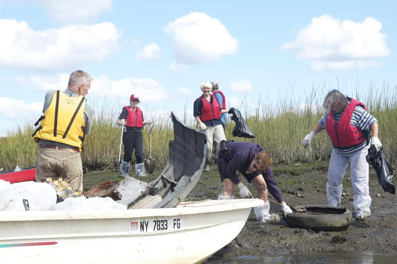 Hutchinson River Restoration Project volunteers at work.