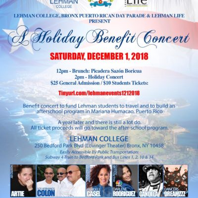 Lehman College, Lehman L.I.F.E. & Bronx Puerto Rican Parade Host 2018 Holiday Benefit Concert