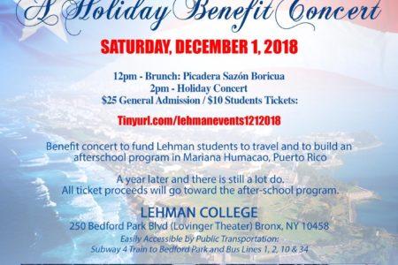 Lehman College, Lehman L.I.F.E. & Bronx Puerto Rican Parade Host 2018 Holiday Benefit Concert
