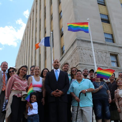 BP Diaz & LGBTQ Community Raise The Rainbow Flag At The Bronx County Building To Celebrate Pride Month
