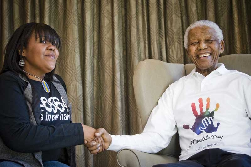 Bronx resident Christina Johnson, 18, and Mr. Mandela.