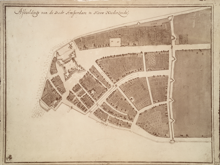 The Castello plan of New Amsterdam, North is right.