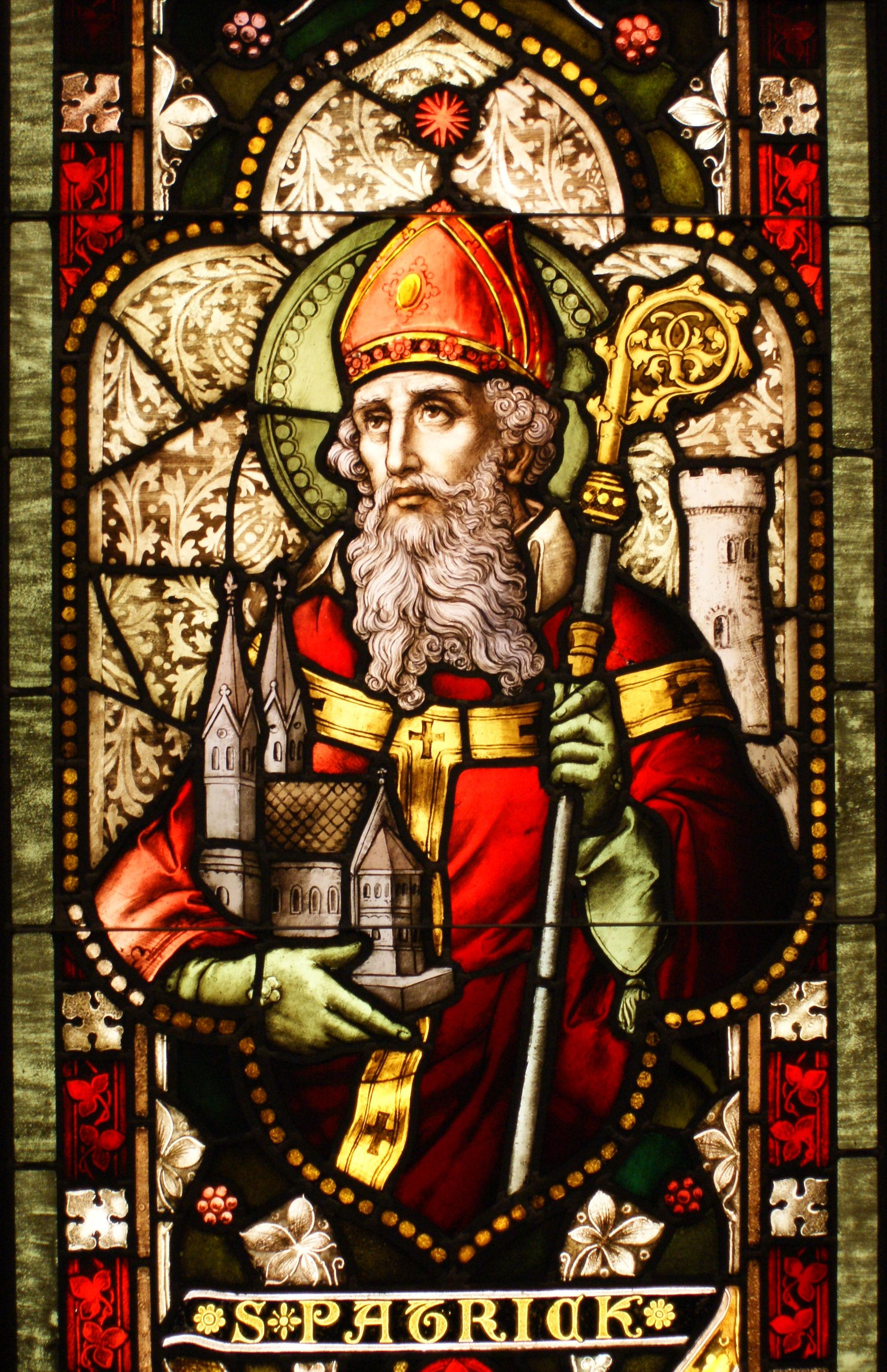 Saint Patrick stained glass.