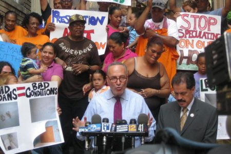 Sen. Schumer Rallies To Save Bronx Apartments