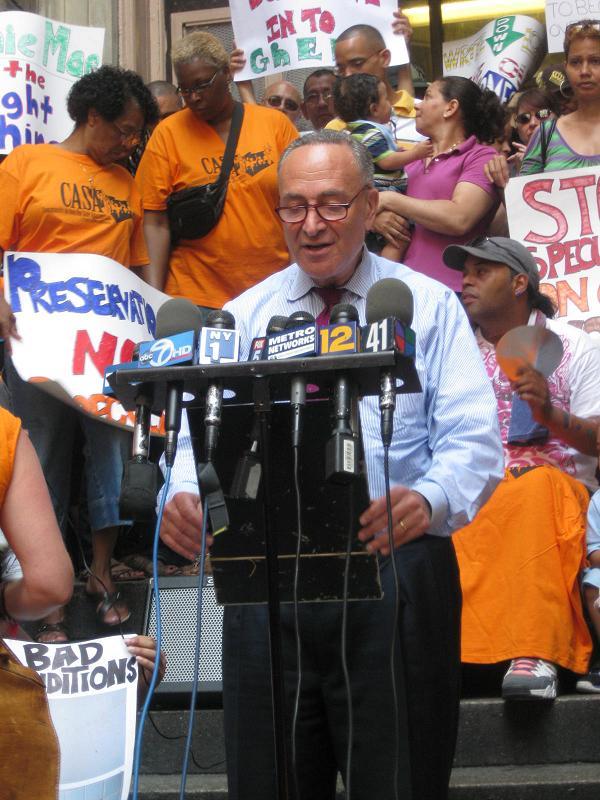 Sen. Schumer Rallies To Save Bronx Apartments