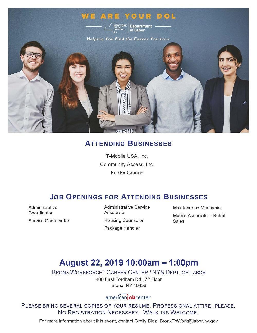 Bronx Career Fair To Be Held On August 22, 2019