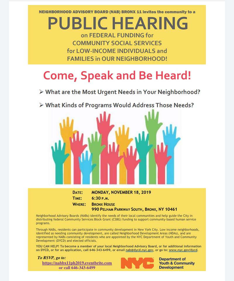 Neighborhood Advisory Board Bronx 11 Public Hearing