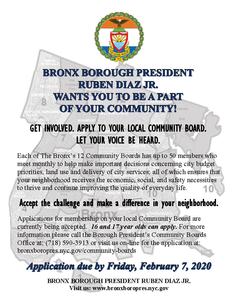 Apply To Your Local Bronx Community Board