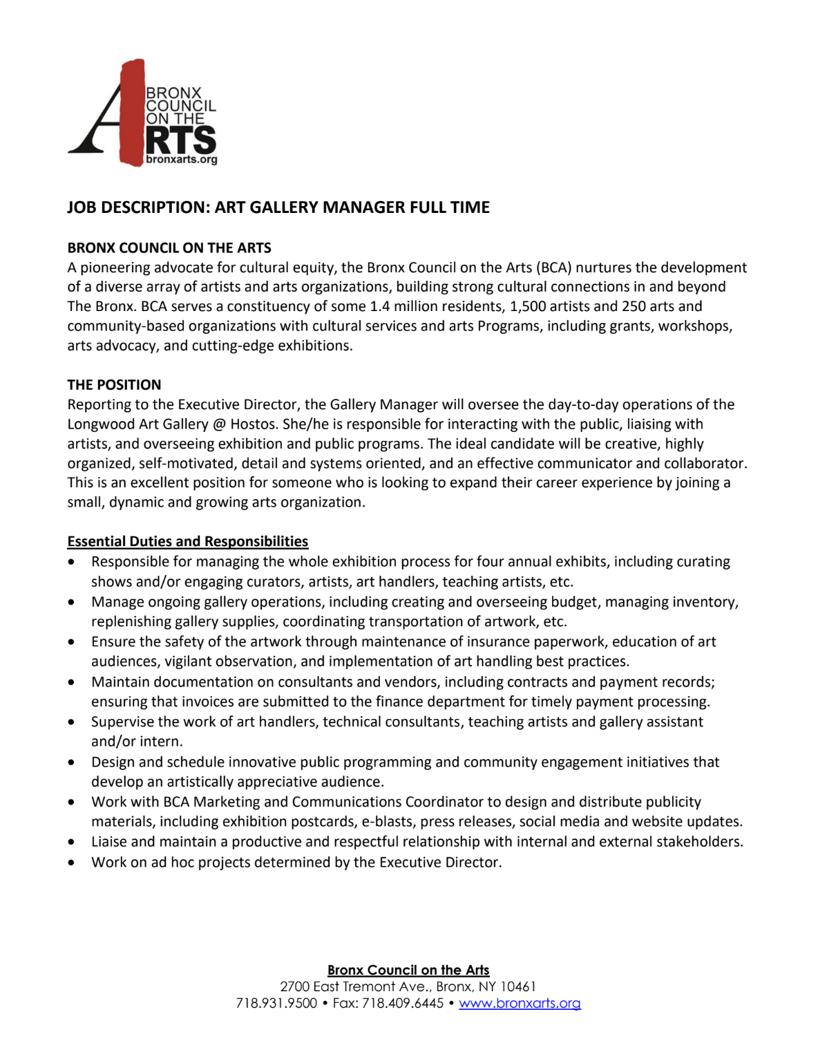 Looking To Hire An Art Gallery Manager