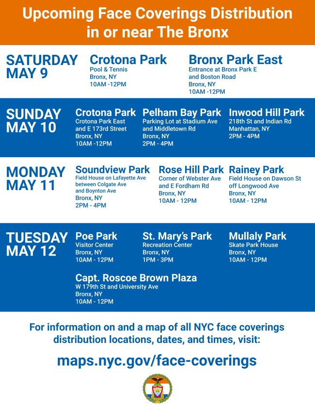 CoViD-19: Bronx Locations For Free Face Coverings Distribution