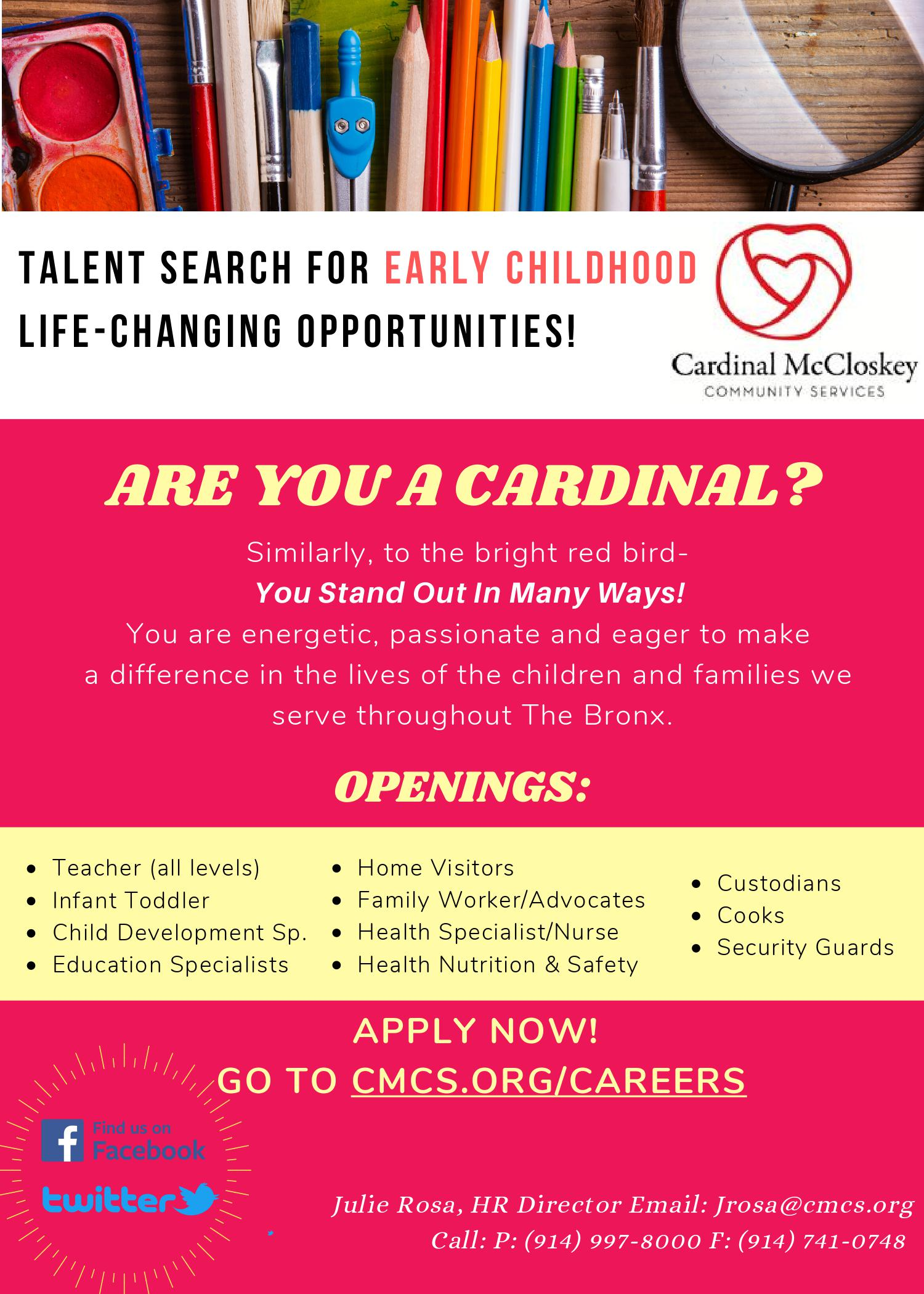 Talent Search For Early Childhood Life-Changing Opportunities