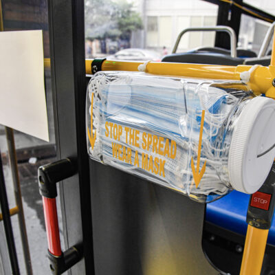 Mask Dispensers Installed Inside Buses For Customers' Ease Of Access When Boarding