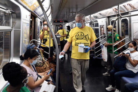 Officials Travel Throughout Queens, Bronx, Manhattan & Brooklyn Distributing Free Masks To Riders