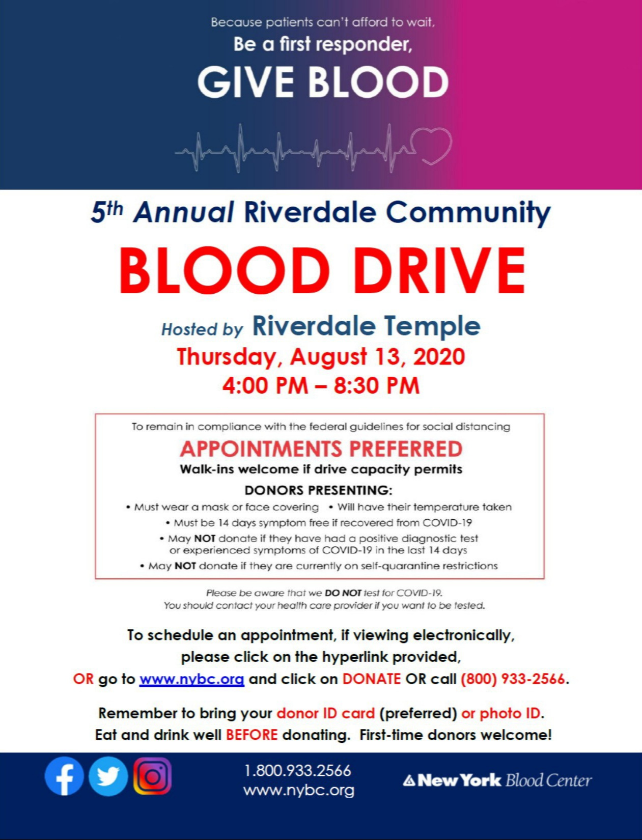 5th Annual Riverdale Community Blood Drive