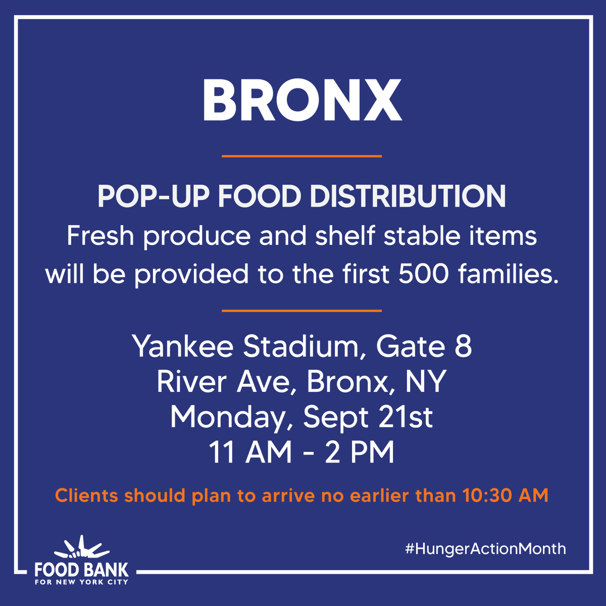 Food Bank For New York City & Yankee Stadium Team Up For Pop-Up Food Pantry